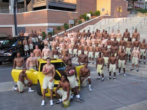 shirtless college men