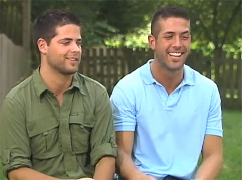 Sam McMillen, one of the The Amazing Race's team of gay brothers, ...