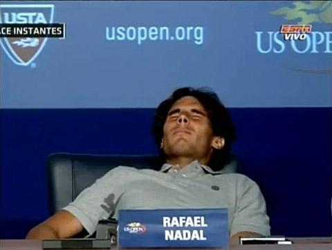 Rafael Nadal Cramps Up, Slides Under Table at US Open Presser: VIDEO