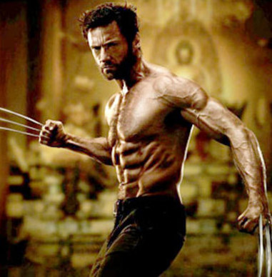 Ripped, shirtless  Hugh Jackman promo still from the upcoming The Wolverine