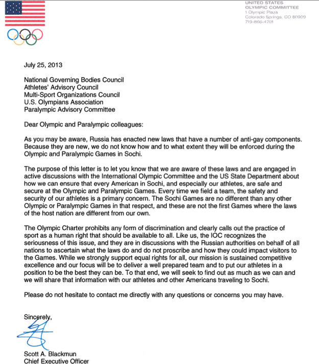 US Olympic Letter