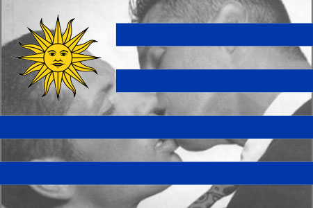 Two men kissing combined with the flag of Uruguay