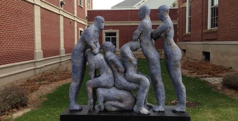 Blue Human Condition sculpture