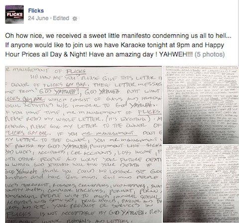 Threatening letters sent to gay bars in san diego