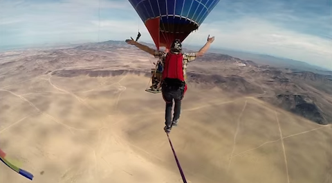 Andy Lewis Hot Air Balloon Slacklining