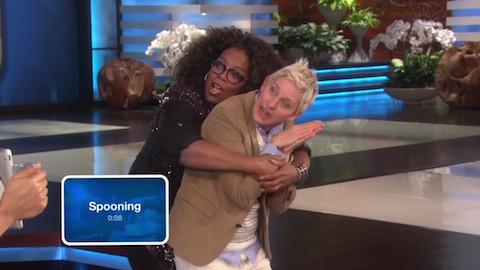 Ellen and Oprah spooning