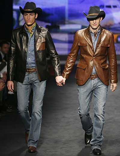 Valentino's 'gay cowboy wear' in Milan, Italy.